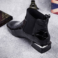 Large Size Women's Boots Winter Square Head Thick with Patent Leather Feet Short Boots British Style Fashion Martin Boots