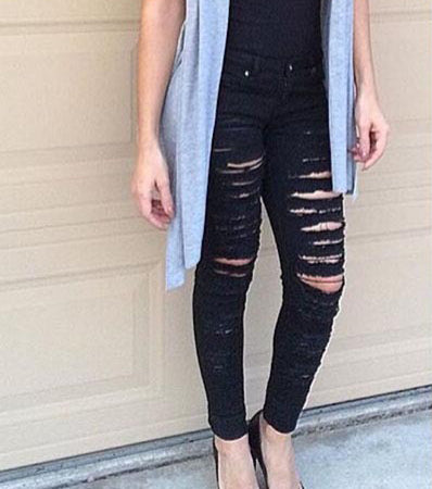 Street Popular Torn Slim Stretch High Waist Denim Pants