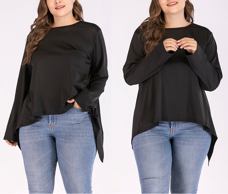 Round Neck Plus Size Irregular Backless T-shirt
