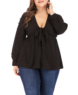 V-neck Straps Pearl Chiffon Long-sleeved T-shirt Tops Plus Size