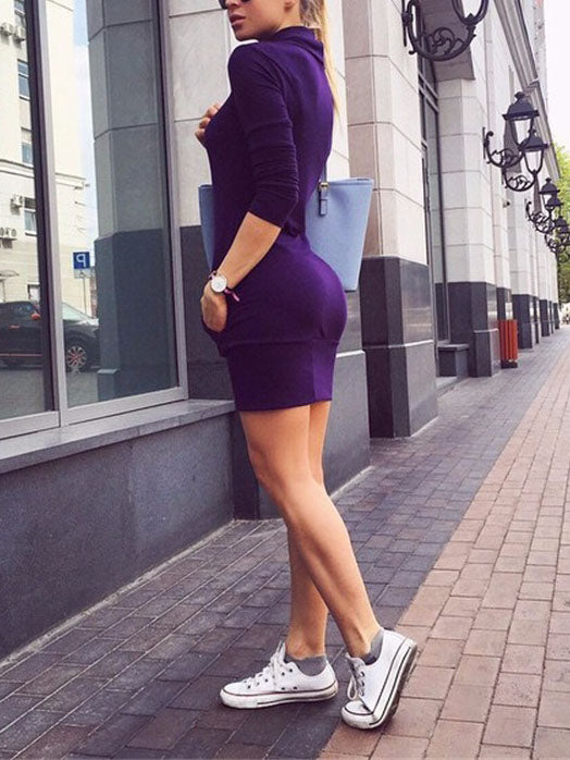 High Neck Sleeve Long Sleeve Slim Bag Hip Sweater Dress Skirt