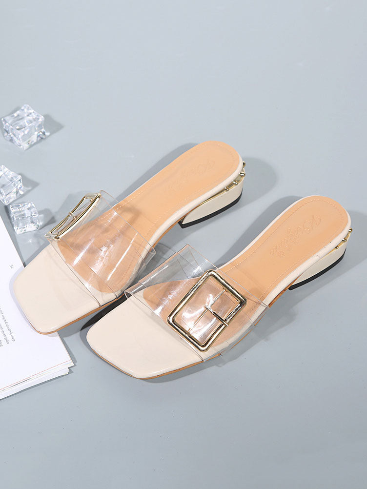 Women's Slippers Summer Sand Thick with Rhinestone Beach Lazy Slippers Women's Flat Transparent Slippers