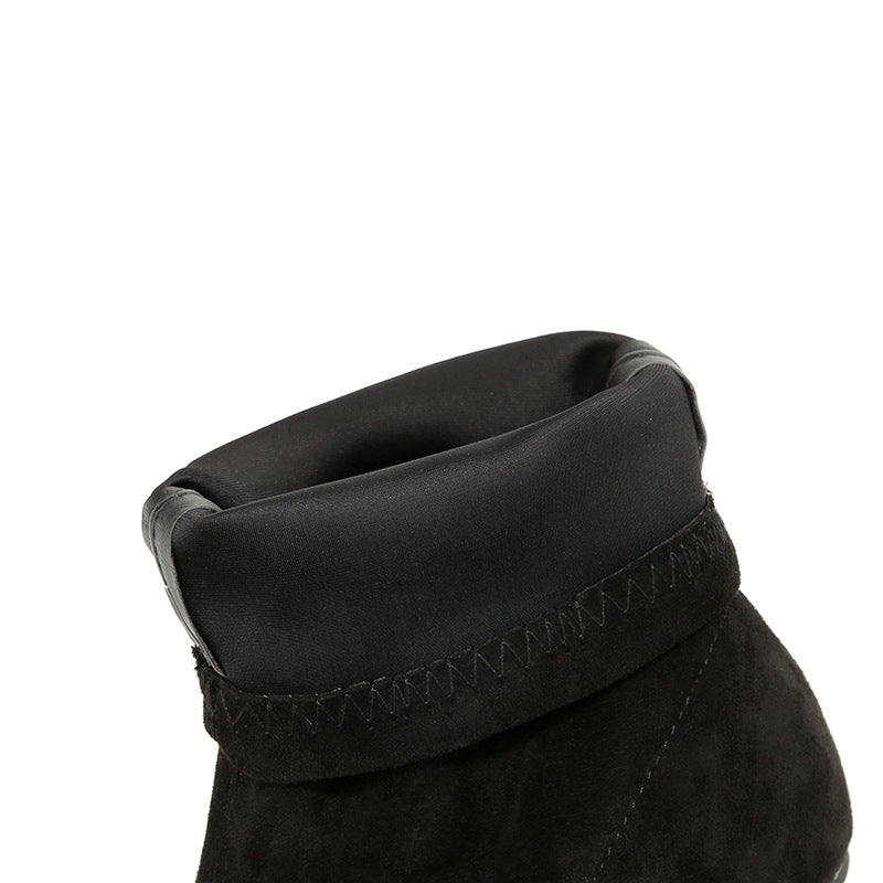 Sexy Tube Boots Pointed Suede Thick with Women's Boots Was Thin Elastic Wild Nightclub Slim Boots