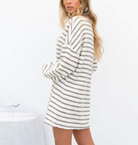 Fashion Striped Crew Neck Long Sleeve Dress
