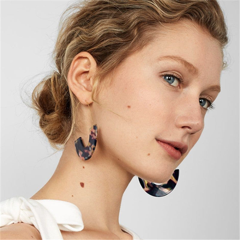 Resin Plate Earrings Personalized Ladies Earrings Jewelry U-shaped Earrings