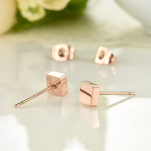 Women's Champagne Gold Titanium Steel Earrings Glossy Small Square Stud Earrings