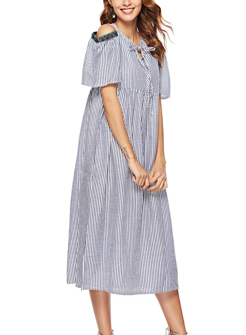 Fashion Striped Sexy Loose Dress