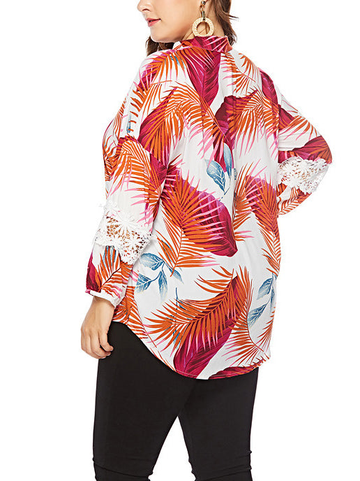 Plus Size Loose Long Sleeve Printed Shirt