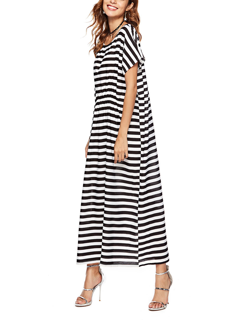 Women Fashion Striped Loose Maxi Dress