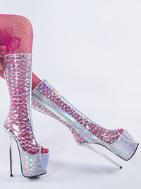 Hate High Transparent High Boots Pvc Extra Large Code Sex Fun Colorful Fish Mouth