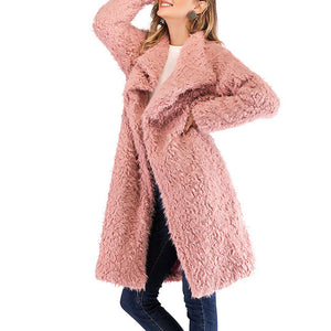 Long Sleeved Plush Jacket In A Straight Collar