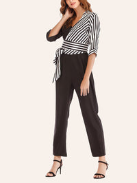 Sexy V-neck Cropped Sleeves Striped Stitching Lace-up Jumpsuit