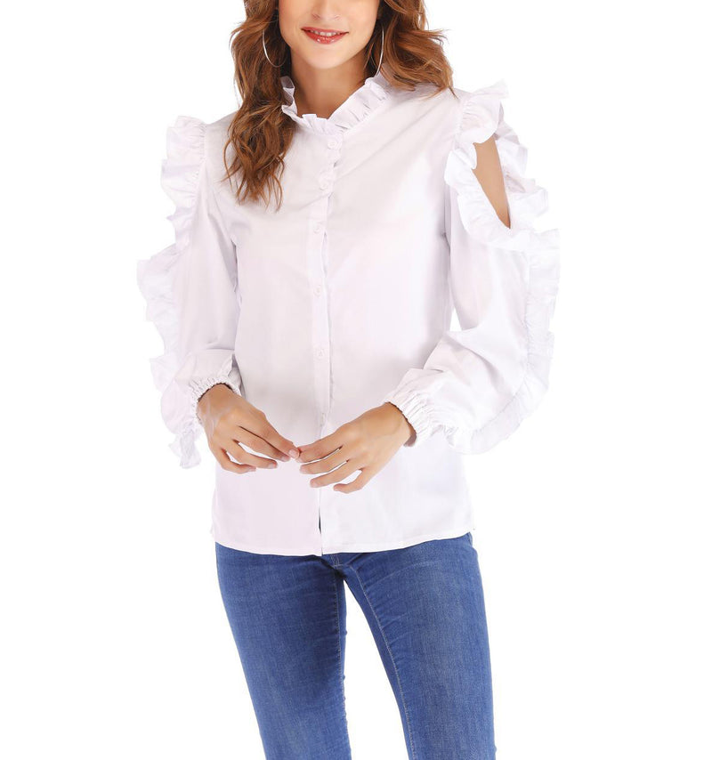 Openwork Long Sleeve Collar Wooden Ear Shirt