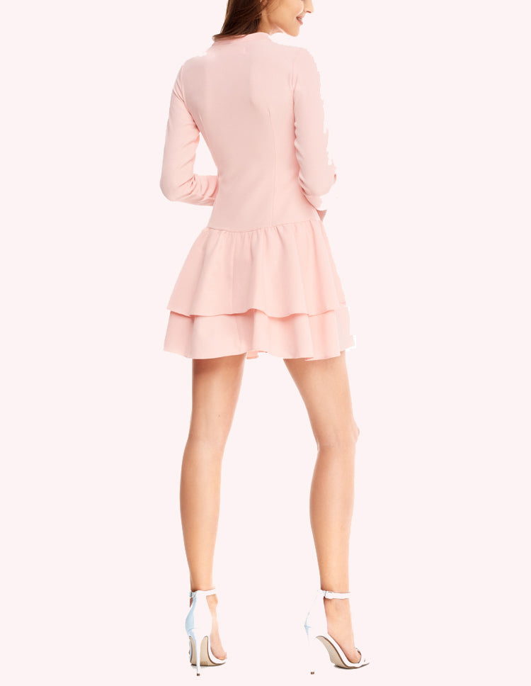 Bow Slim Fit Ruffled Hem Long Sleeve Dress