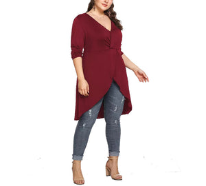 Plus Size V-neck Irregular Long-sleeved T-shirt Blouse