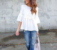 Bell Sleeve White Stitching Lace Top