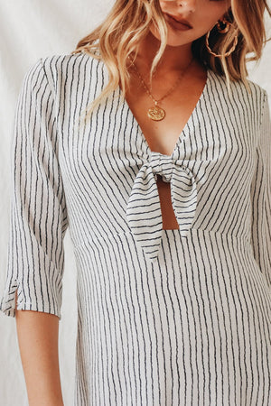 Short Mid-sleeve High-waist Striped Dress