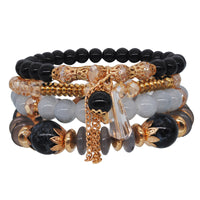 Bracelet Handmade Beaded Gold Multi-layer Ring Elastic Rope Crystal Bracelet