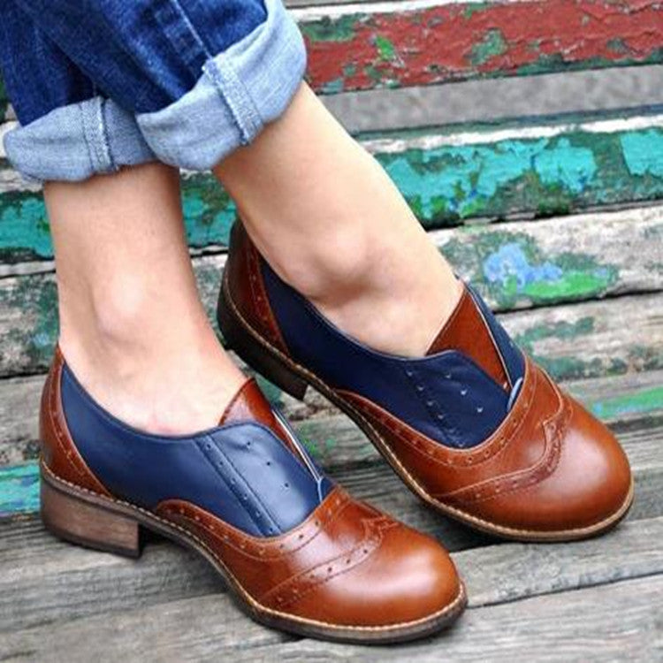 Autumn and Winter Large Size Single Shoes Female England Carved Women's Round Head Shoes Brock Casual Shoes