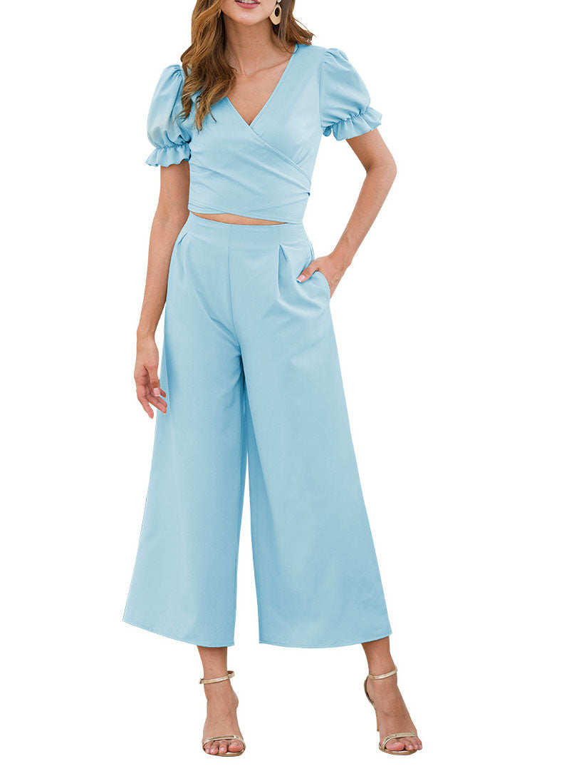 Women's Sleeves V-neck Tie with Navel Waist Wide Leg Cross-legged Nine Pants