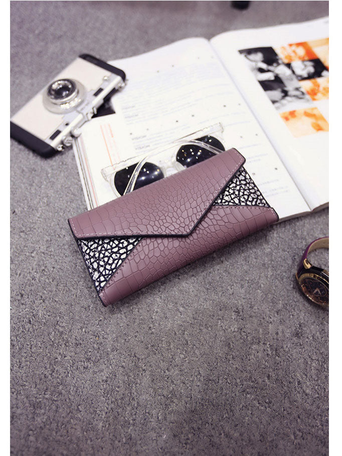 Fashion Clutch Bag Women's Wallet Crocodile Pattern Triangle Splice Small Bag