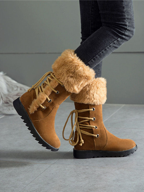 New Autumn Women's Shoes Ladies Large Size Snow Boots Fur Boots