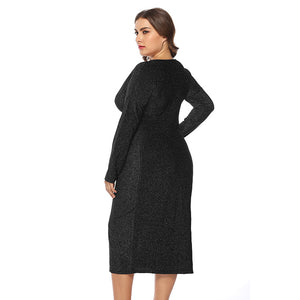 Autumn and Winter Plus Size Fat Mm Large Size Women's V-neck Dress
