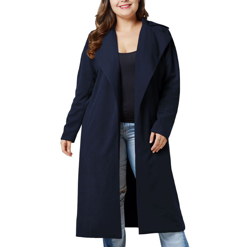 Oversized Women's Clothing Fat Mm Winter Woolen Coat Coat Lapel Long Woolen Coat