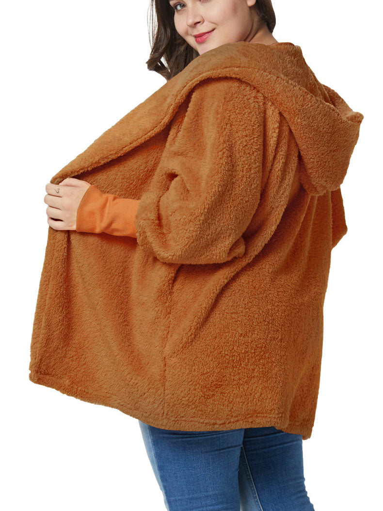 Large Size Women's Fat Mm Winter Tops Lantern Sleeves Plus Size Plush Coat