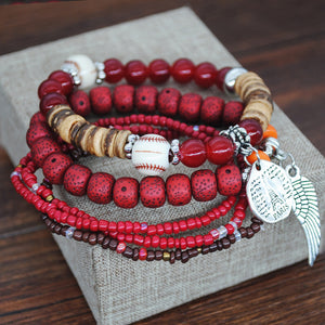 Multi-layer Combination Rice Beads Bracelet Mixed Color Elastic Rope Bracelet