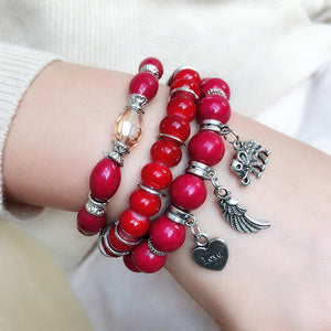 Multi-layer Combination Color Beaded Bracelet Female Elephant Wings Pendant Bracelet