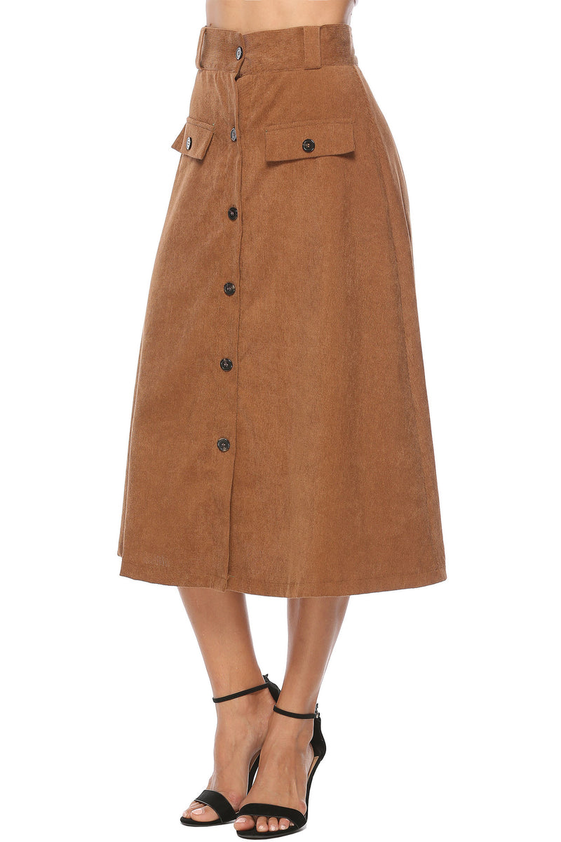 Button Pocket A Word Big Swing Skirt