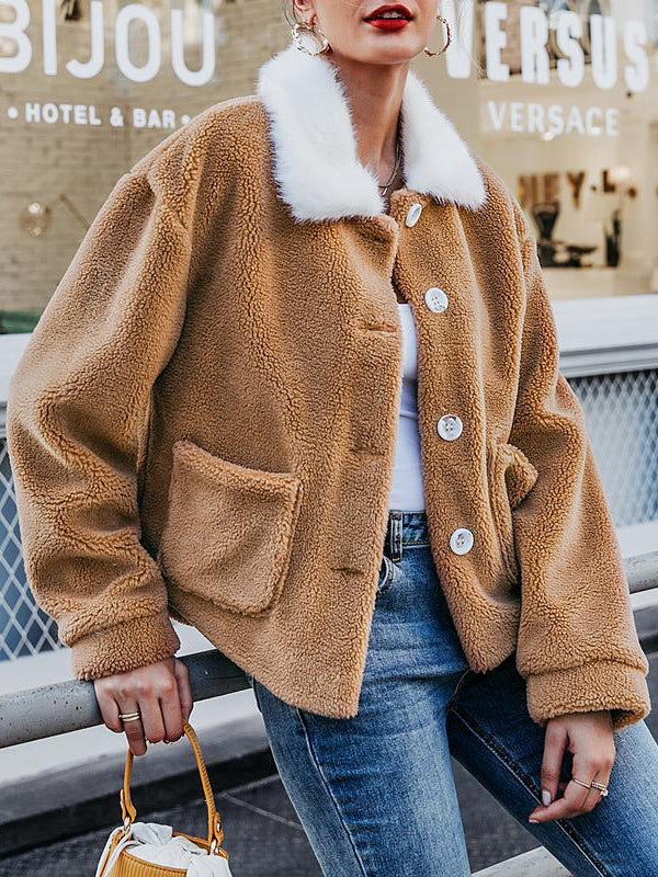 Color-block Lapel Long Sleeve Plush Coat