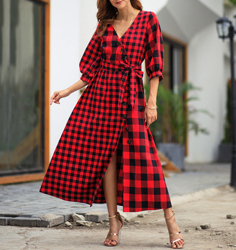 Plaid Long Sleeve Vintage Dress