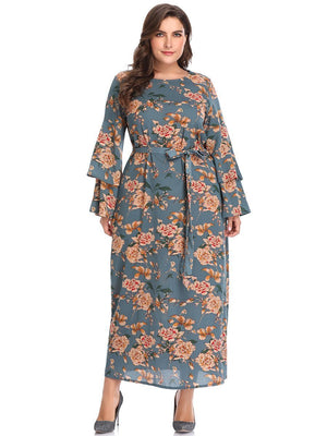 XL Round Neck Speaker Long Sleeve Printed Long Dress