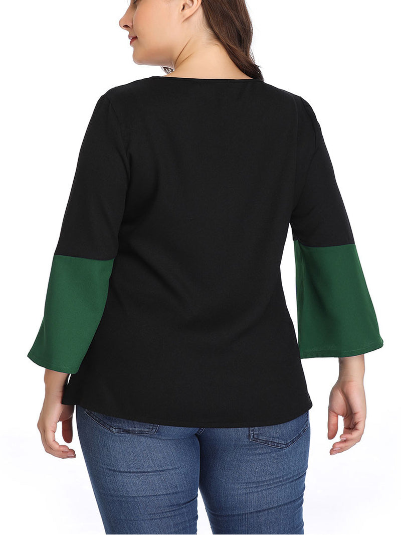 Large Size Women's Stitching Contrast Color Matching Shirt
