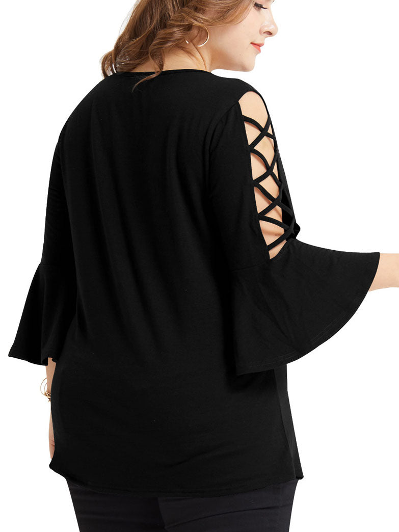Large Size Women's Shirt Plus Size Hollow Trumpet Sleeve T-shirt Female