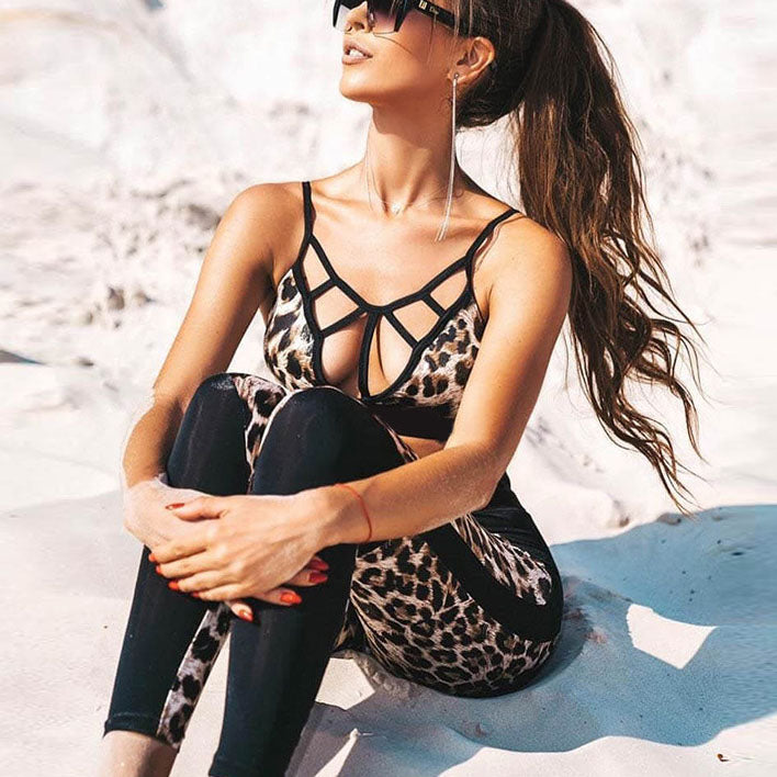 Leopard Stitching Sports Bra Tights Fitness Yoga Suit Women's Two-piece Suit