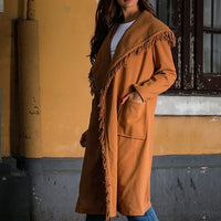 New Woolen Coat Camel Tassel Stitching Cardigan Coat