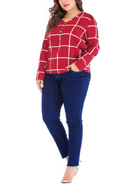 New Plus Size V-neck Plaid Chiffon Loose Long-sleeved T-shirt