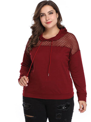 XL Fashion Mesh Stitching Long-sleeved Sweater