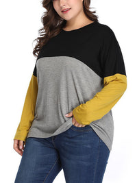 Large Size Women's Contrast Color Stitching T-shirt