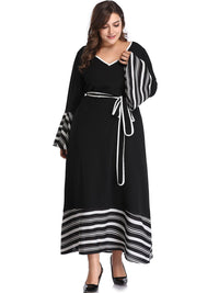 XL Autumn and Winter Sexy V-neck Contrast Color Striped Stitching Long-sleeved Dress