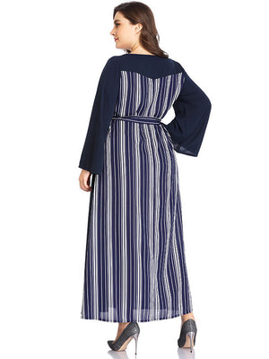 XL Sexy V-neck Striped Stitching Long-sleeved Dress