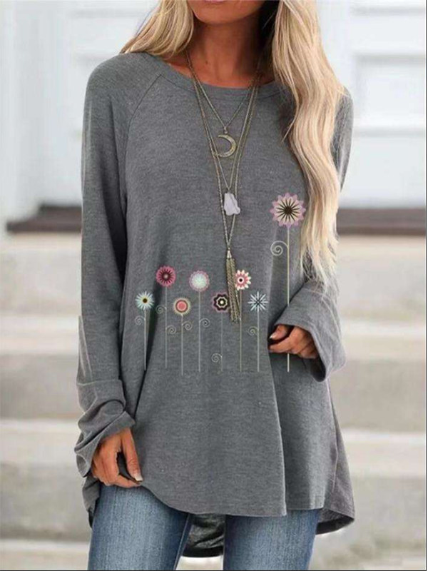 Women's Printed Long Sleeve Round Neck T-Shirt