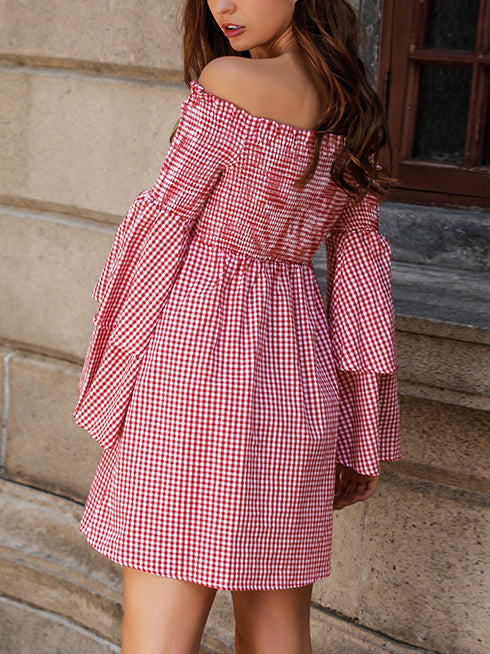 One-neck Plaid Double-sleeve Sleeveless Strapless Dress