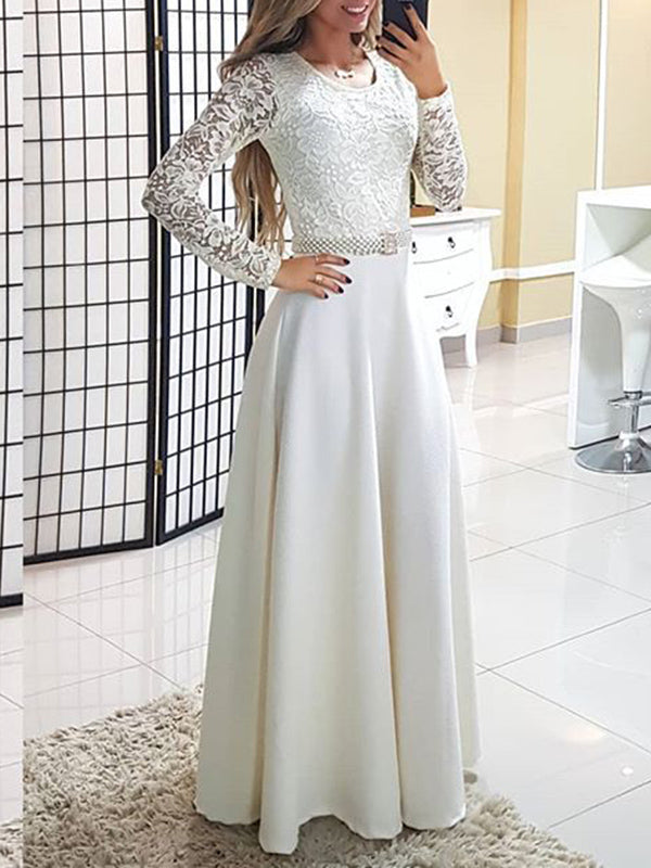 Round Neck Lace Long Sleeve Dress Maxi Skirt