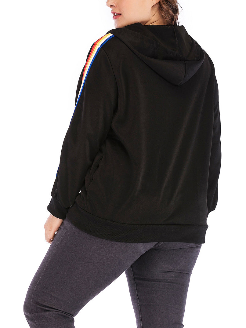 Plus Size Zipper Hooded Ladies Jacket