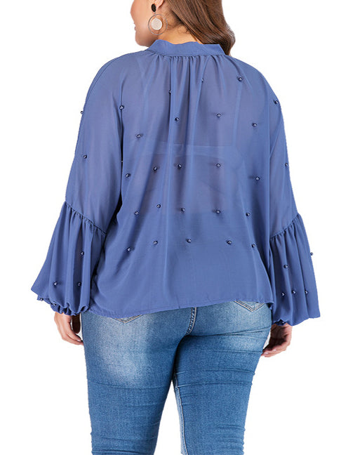 Round Neck Strap Pearl Chiffon Bottoming Shirt