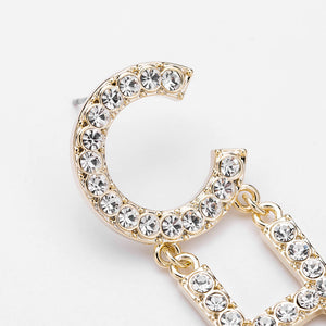 Exaggerated Temperament Long Earrings Diamond-studded Earrings Female Personality Simple Plating Gold Earrings